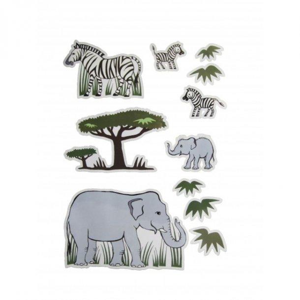 Wallsticker Elefant og zebra til væg