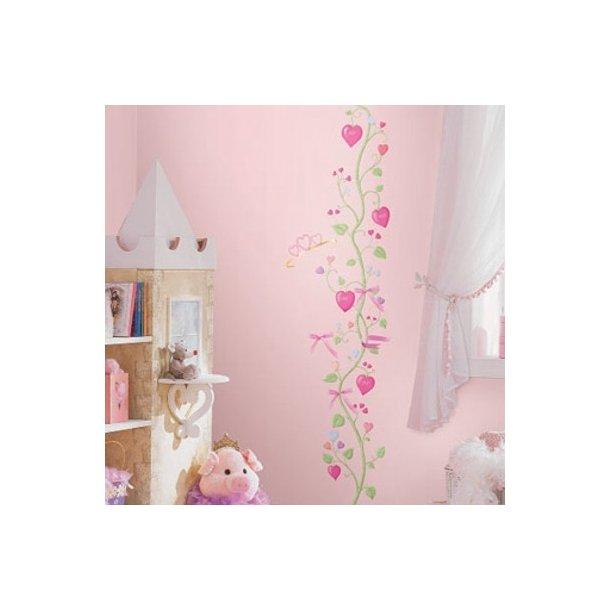 Wallstickers - Højdemåler, prinsesse blomster ranke