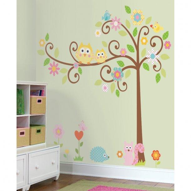 Store Wallstickers - Fantasi træ med to ugler