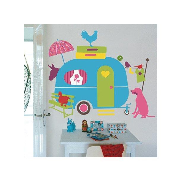 Wallstickers - Farverig campingvogn m. dyr