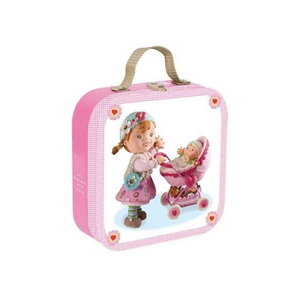 Kuffert med 4 pap puslespil med dukkemotiver fra Janod