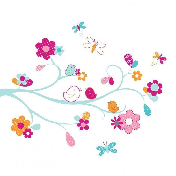 Wallsticker med en gren med blomster i flotte farver