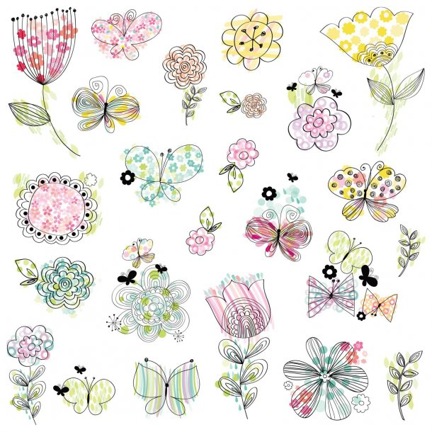 Wallsticker med blomster mm. i pastel farver.
