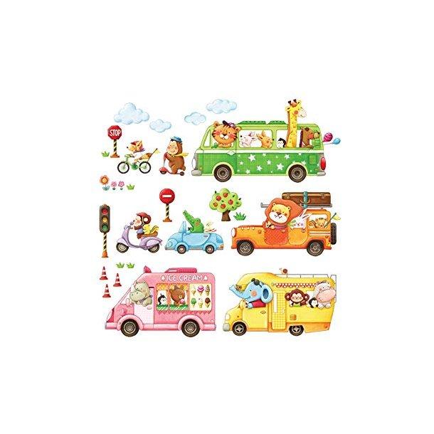 Wallsticker med dyr i forskellige Køretøjer.