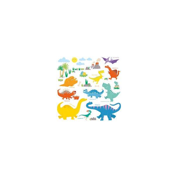 Wallstickers med farverige Dinosaurer