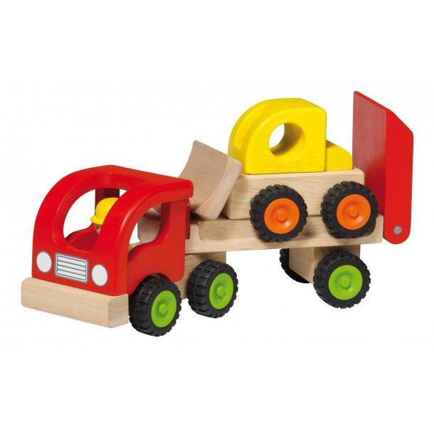Lastbil i træ med ladvogn og gravko