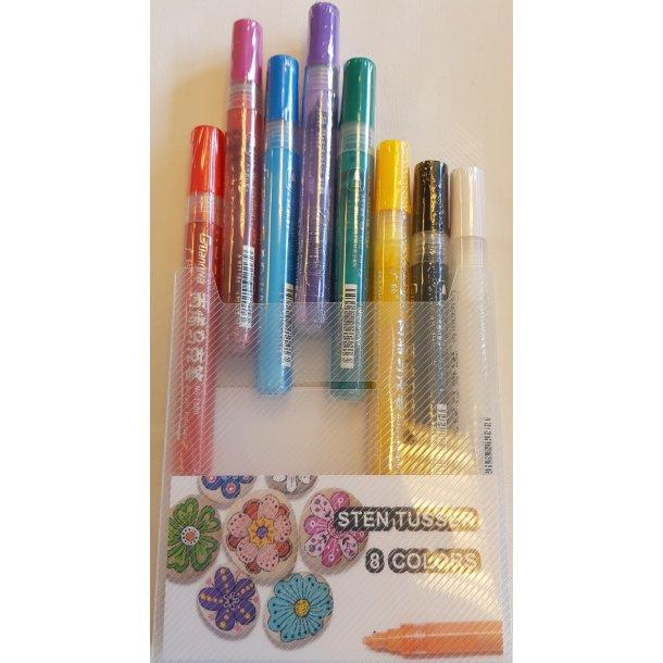 Stenmalingssæt 8 stk med bred pen