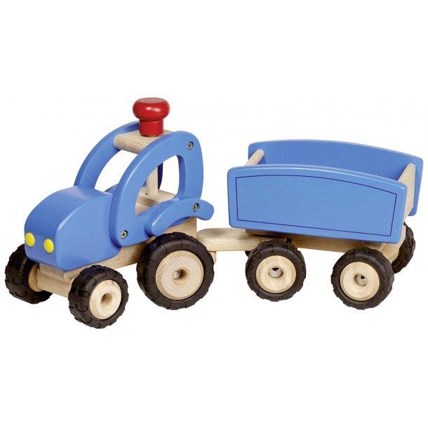 Stor traktor i træ med tipvogn - drenge