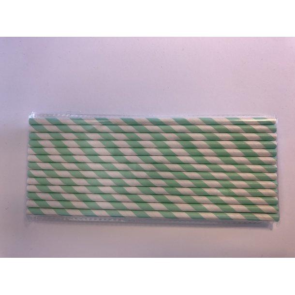 Sugerør med Grønne Striber 25 stk.