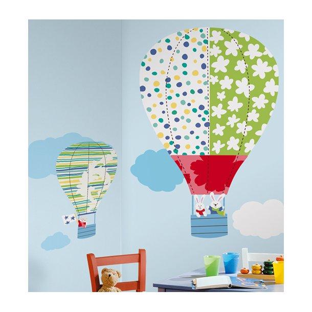 Wallstickers 2 luftballoner med kaniner