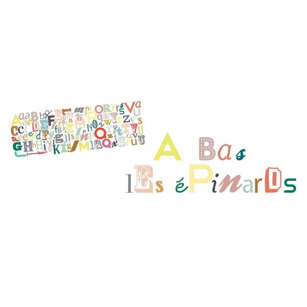 Wallsticker Alfabet i forskellige farver & former