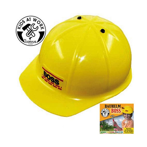 Sikkerhedshjelm, gul med tekst