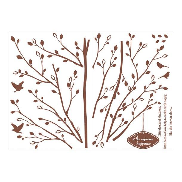 Brunt træ med fugle