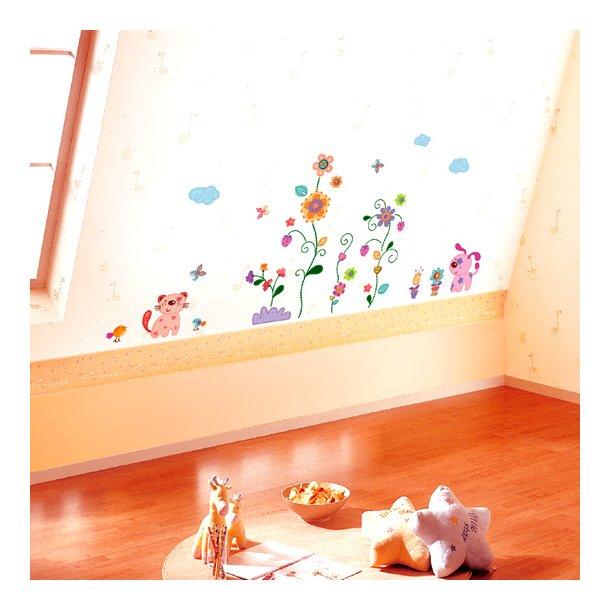 Farverige blomster og dyr