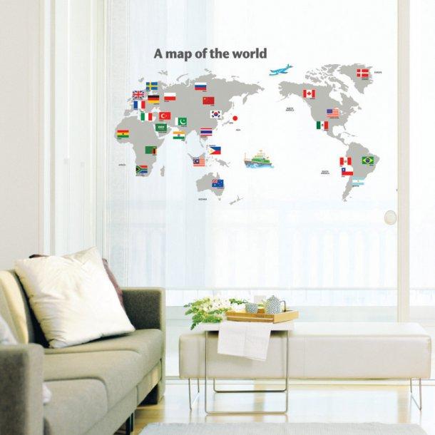 Verdenskort med flag