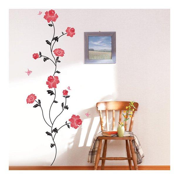 Velour - Røde blomster