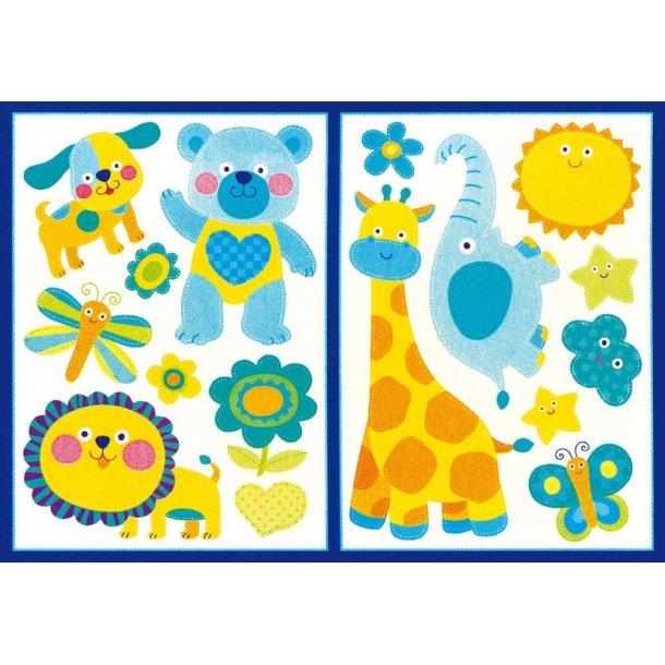 Wallsticker, søde dyr i blåt og gult