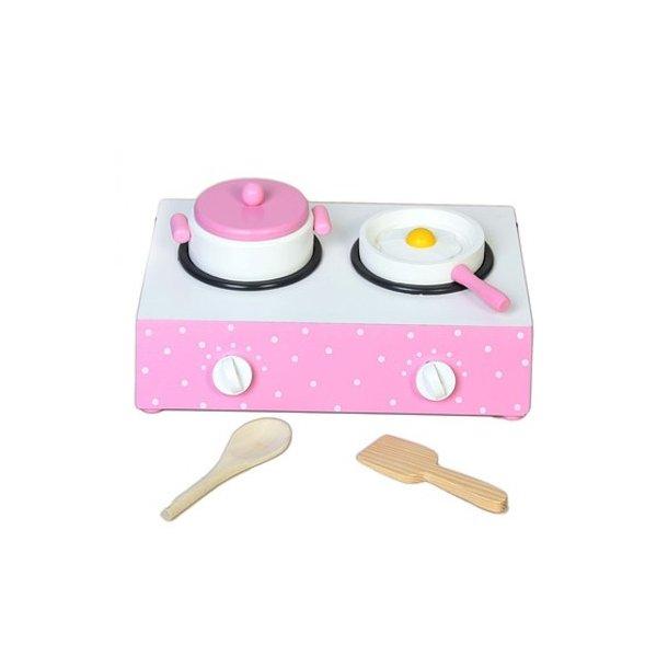 Pink komfur bord med prikker