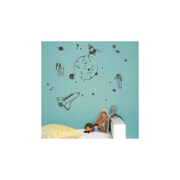 Wallstickers fra rummet - grå