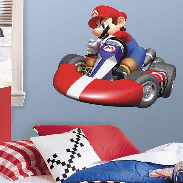 Wallsticker med Mario i sin seje racerbil