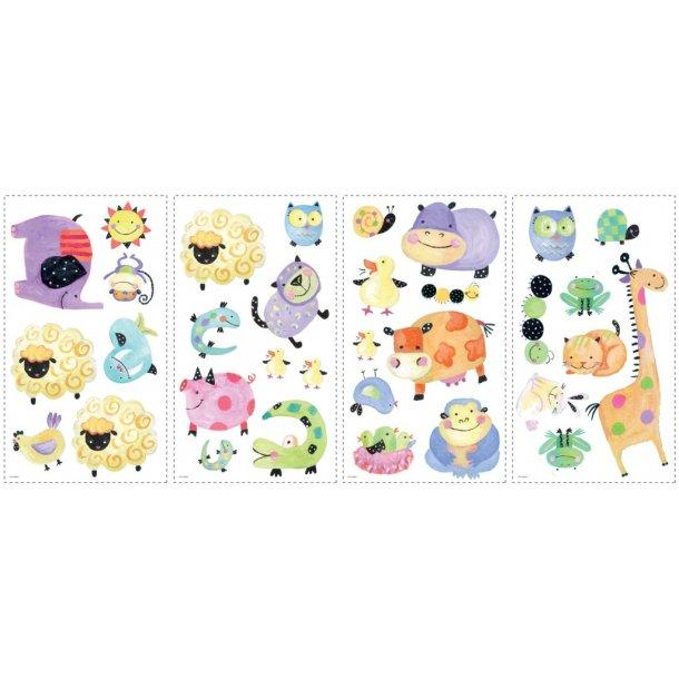 Wallstickers med glade og farverige dyr