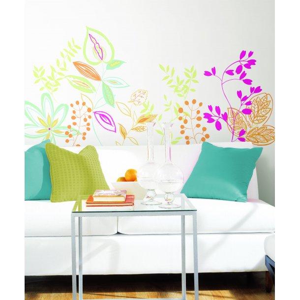 Wallstickers med farverige planter