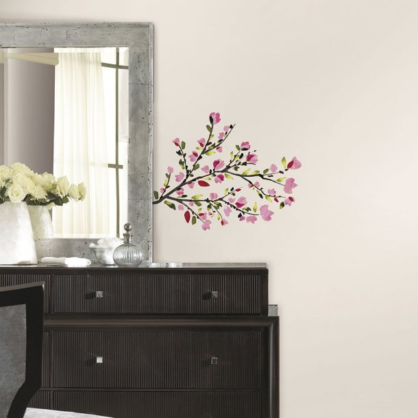 Wallsticker, blomstrende rosafarvede grene