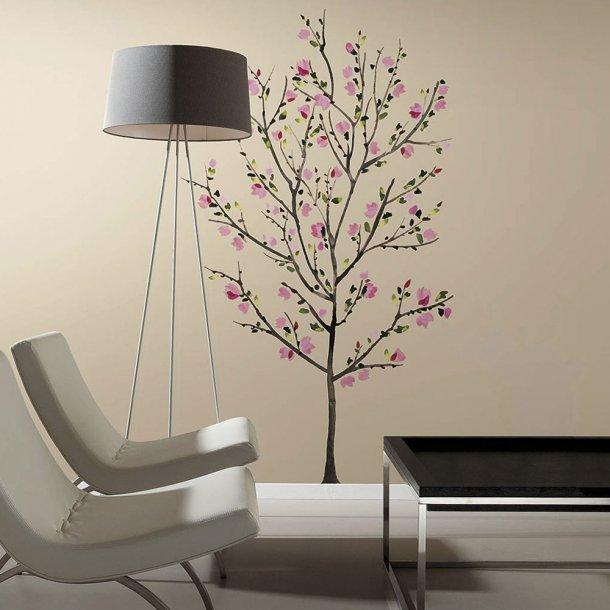 Wallsticker, stort rosablomstrende træ