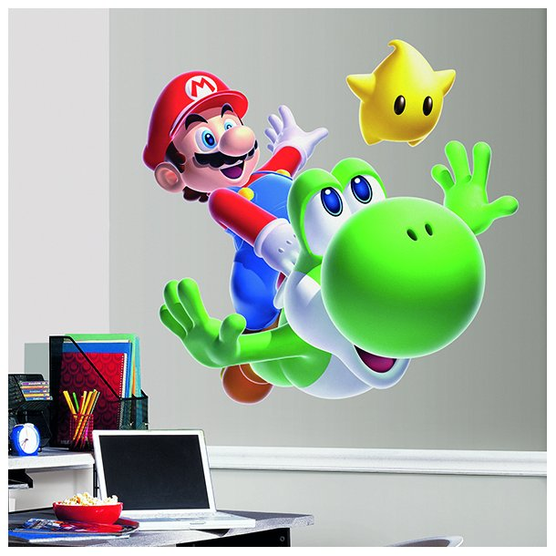 Kæmpe wallstickers med Mario, Yoshi og Luma