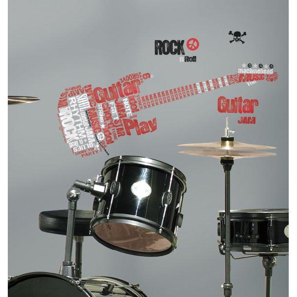 Sej wallsticker med tekst - guitar og rock