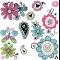 Glitrende sommerfugle og blomster