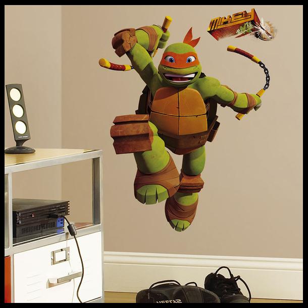 Sej kæmpe wallstickers med Mike fra Ninja Turtles