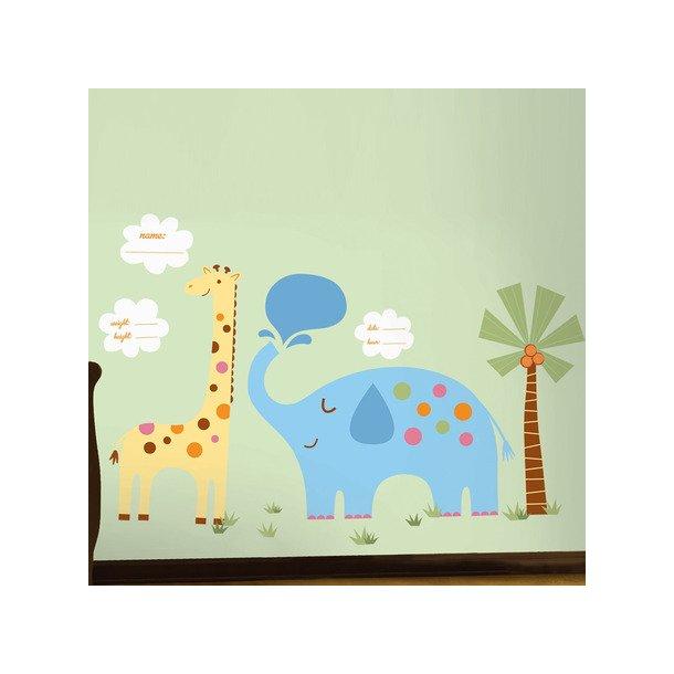 Wallsticker kæmpe giraf og elefant